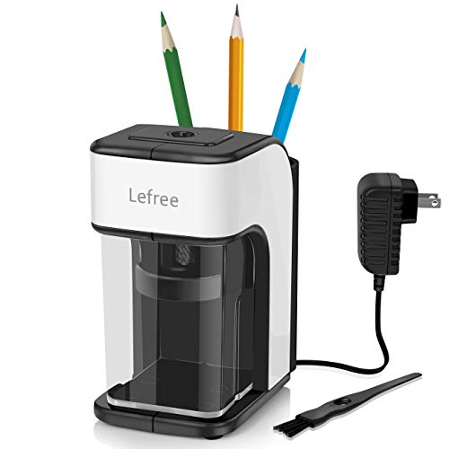 Electric Pencil Sharpener, Heavy-duty Helical Blade Sharpener,Pencil Storage Holder with AC Adapter Cleaning Brush, Pencil Sharpener Classroom for No.2/Colored/Charcoal Pencils(Black with White)