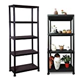 <span class='highlight'><span class='highlight'>Xinng</span></span> 5 Tier Black Plastic Shelve Unit Storage Organised Racking Shelving Unit for Garage Home Pantry with Anti Slip Rubber Feet Lightweight Durable 171(H) x61(W) x31cm(D)