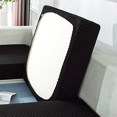 TYXL Fundas de cojín de Asiento de sofá, Fundas de cojín de sofá elásticas, Fundas de Protector de Muebles para cojín de Asiento de sofá (Grande 3 plazas, Negro)