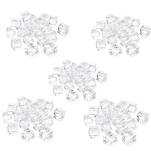 100 Piezas Cubitos de Hielo de AcríLico,Cristal Transparente Hielo Roca, Cubo Forma Cuadrada Lustre de Hielo,Transparentes Cuadrados Realistas Para FotografíA Publicitaria.