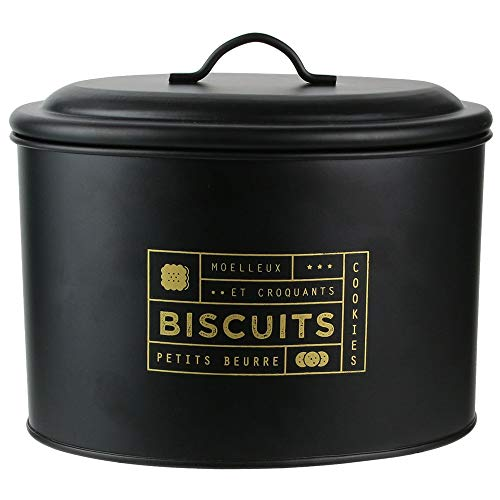 HOME DECO FACTORY BT6670 Boite de Rangement Cuisine, Metal, Noir-Doré, 21 x 14 x 17 cm