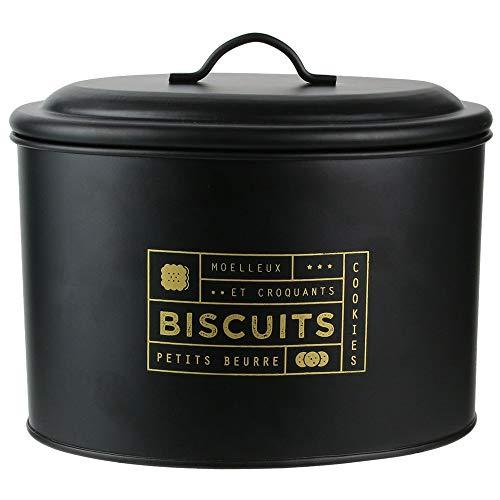 LA BOITE A BT6670 Scatola per biscotti, Metallo, Nero/Oro, 21 x 14 x 17 cm