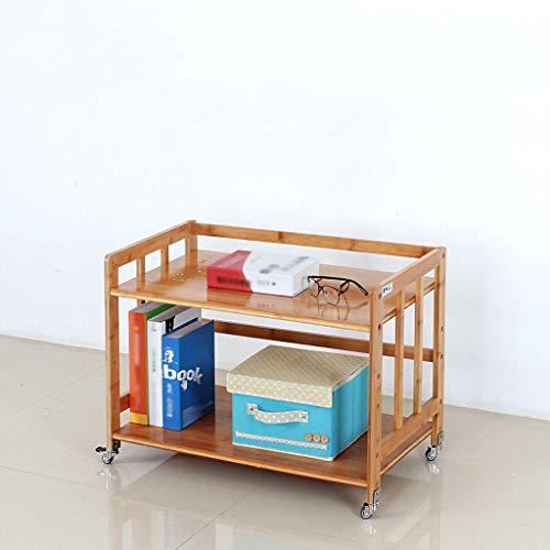 Soporte para fotocopiadoras e Impresoras 2 Capa base de la impresora con polea móvil de bambú Almacenamiento Hogar del sostenedor del estante de escritorio del archivo lateral, Requiere Ensamblaje par