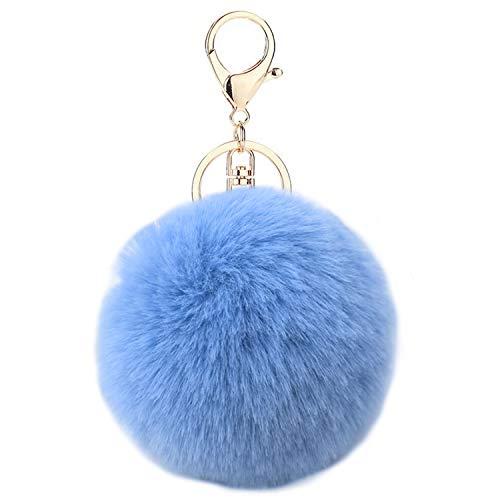 Auranso Pom Pom Fluffy Keyring Soft Plush Charm Ring Keyfob Faux Fur Balls Bag Pendant Keychain Decoration Navy