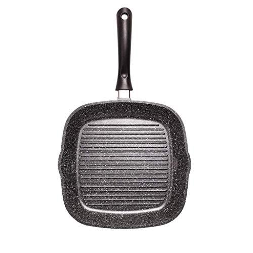 Pan de metal - sartén sin palanca con piedra de maifan, sartén con diseño de rayas de hierro fundido