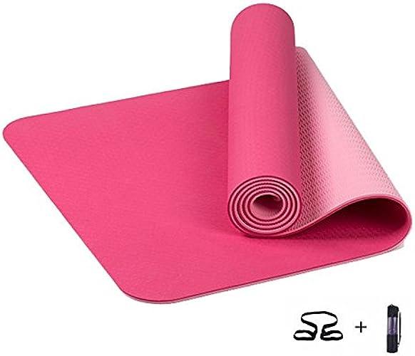 YUN MY GIRL 6mm TPE Tapis de Yoga Anti-dérapant Sport Exercices de Fitness Pilates Gym Colchonete pour Les débutants avec Sac de Yoga 183  61  0.6cm (Couleur   Rose)