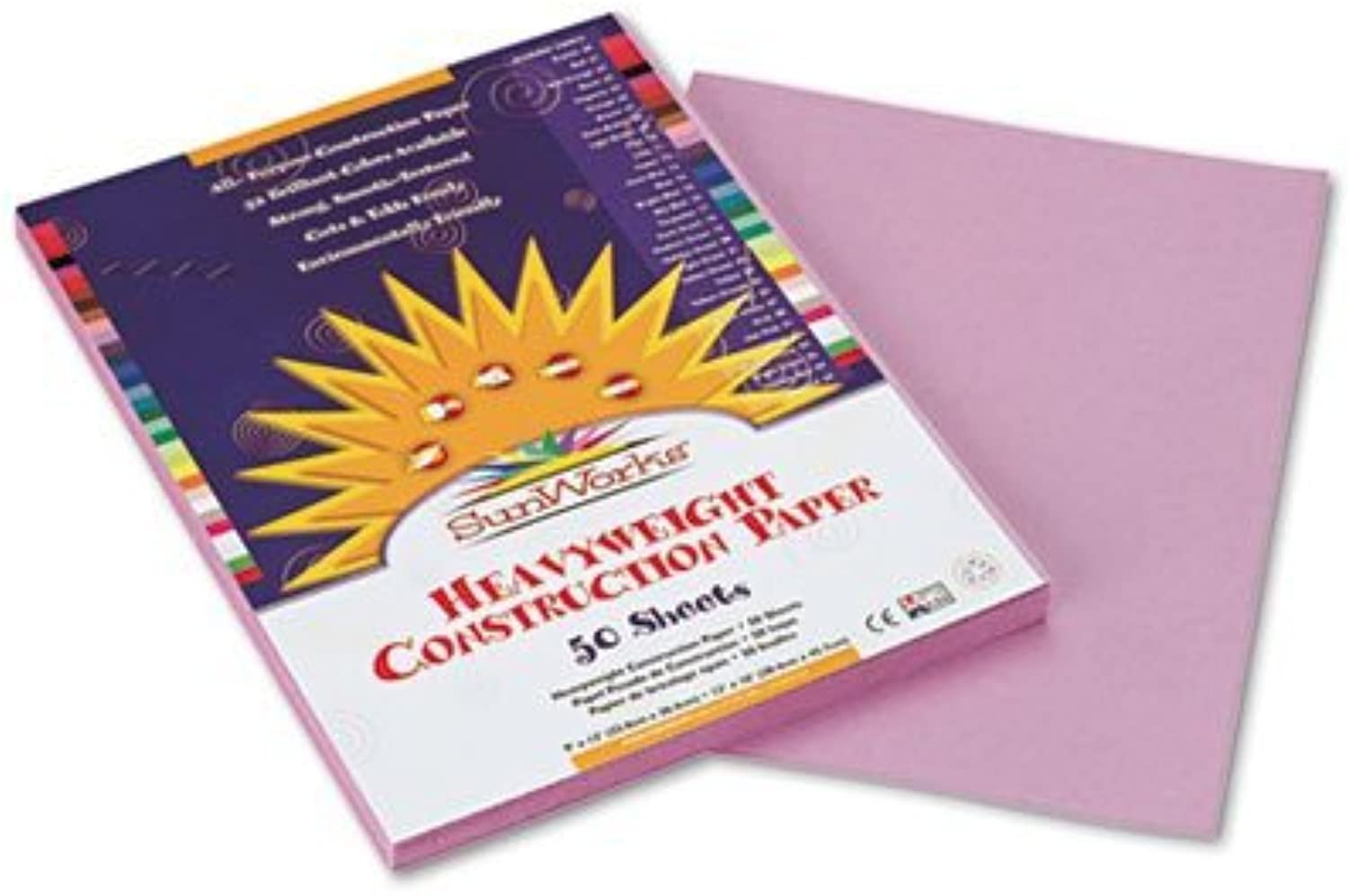 Construction Paper, 58 lbs., 9 x 12, purplec, 50 Sheets Pack, Sold as 1 Package by Sunworks