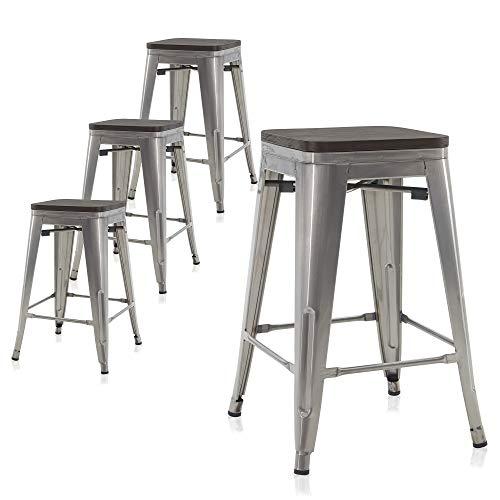 BELLEZE Alexander Set of 4, 24Inch Industrial Metal Bar Stools Dining Chairs with Wood Seat, Indoor/Outdoor Stackable Counter Height Barstools, Gunmetal
