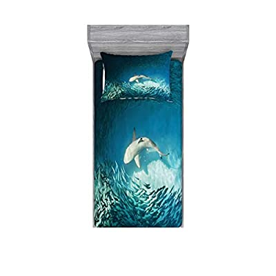 Ambesonne Sea Animals Fitted Sheet & Pillow Sham Set, Shark and Small Fish Ocean Wilderness Waterscape Wildlife Nature Theme Picture, Decorative and Printed 2 Piece Bedding Set