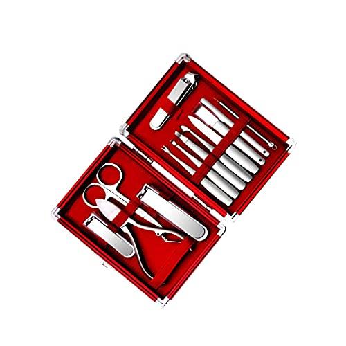 WENMENG2021 Cortaúñas Cuidado Personal Manicure Pedicure Set Portable Nail Clippers Clavos Gruesos Uso de casa 13 Piezas Hombre Rojo Cortadores de uñas (Color : Red)