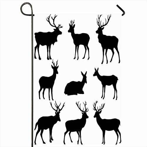 Onete Garden Flag 28x40 Inches Deer Roebuck Design Collection Set Silhouette Tattoo Shadow Animals Wildlife Animal Signs Symbols Outdoor Seasonal Home Decor Welcome House Yard Banner Sign Flags