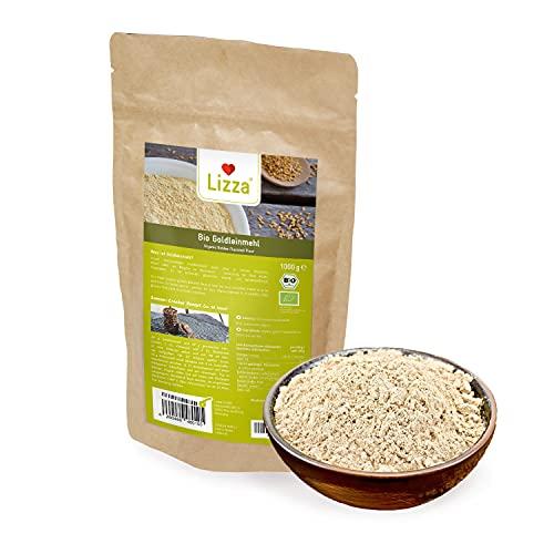 Lizza Bio Goldleinmehl 1kg | Glutenfrei. Vegan. | Mehlersatz | Keto & Diabetiker geeignet | Protein- & Ballaststoffreich | Leinsamenmehl | 1 kg Packung