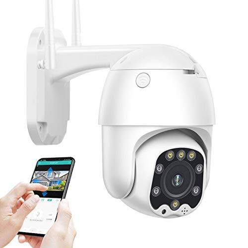 AINSS Cámara de vigilancia WiFi Exterior,Cámara de Seguridad IP CCTV PTZ,1080P HD visión Nocturna,Voz bidireccional,detección de Movimiento,Alarma,para Garaje/Puerta,Impermeable (Cámara WiFi)