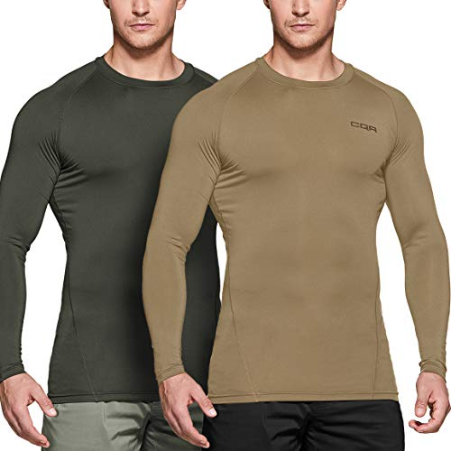 CQR Men's Cool Dry Long Sleeve Tactical Compression Shirts, Athletic Workout T-Shirt, Active Military Base Layer, Tactical 2pack(tud201) - Hunter Green/Tan, Large