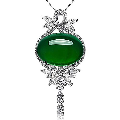 WEIKAI Collar para mujer con lazo, calcedonia, jaspe verde, ágata, colgante, grupo incrustado, ojo de caballo, lleno de diamante, flor, delicado