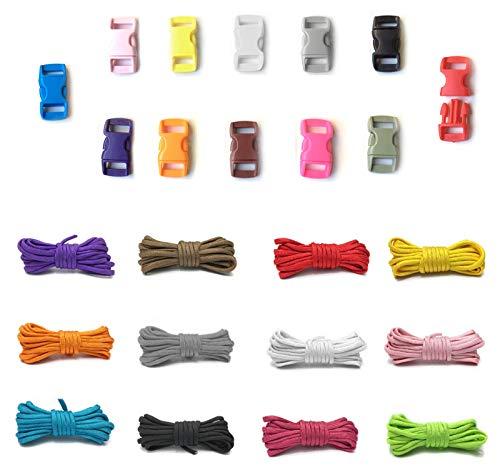 NO CYJZHEU Paracorde Kit, 12 Pièces Corde Paracorde Bracelet et 12 Pièces Boucles en Plastique Cordes Sécurité Tente Corde Descalade Tissée à la Main pour Porte-clés de Longes 10Feet, 12 Couleurs