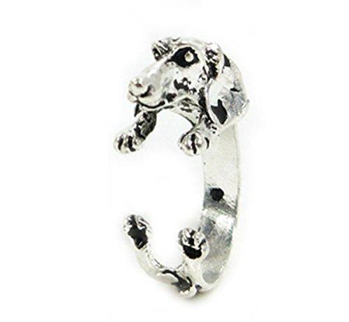 ミニチュアダックスフンド 犬のリング(指輪)ゴールドorシルバー アクセサリー (シルバー)