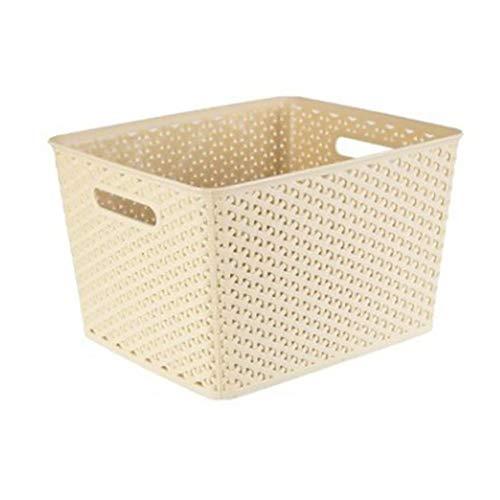 Vinkkatory Cesta de almacenamiento de plástico sin tapa, caja de almacenamiento para mesa, cocina, dormitorio, tamaño grande, 32,5 x 25,7 x 22 cm, color rosa