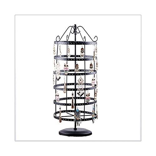 Organizador de joyas de hierro forjado, 6 capas de almacenamiento giratorio de joyería para pendientes, collares, pulseras, mostrador, organizador de joyas (color: negro)