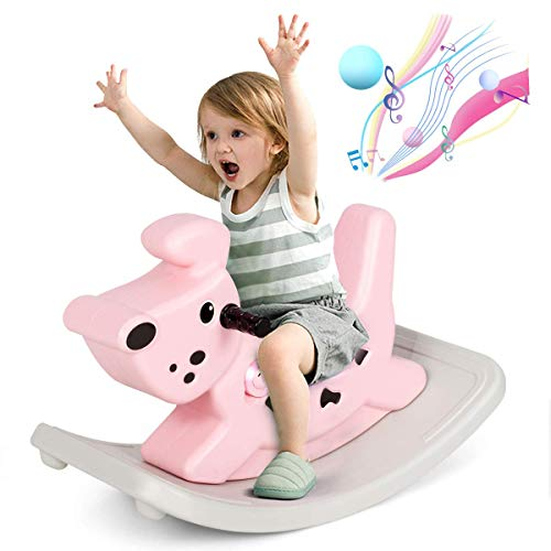 COSTWAY Kids Rocking Horse, Toddler Ride On Toy with Grip Handles, Music and Lights, Infant Rocker Animal for Boys and Girls Gift (Pink)
