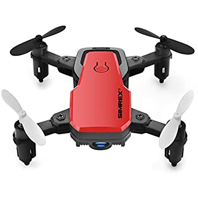 SIMREX X300C Mini Drone with Camera WIFI HD FPV Foldable RC Quadcopter RTF 4CH 2.4Ghz Remote Control Headless [Altitude Hold] Super Easy Fly for Training - Red