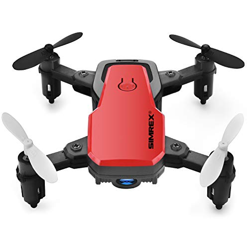 SIMREX X300C Mini Drone RC Quadcopter Foldable Altitude Hold Headless RTF 360 Degree FPV Video WiFi 720P HD Camera 6-Axis Gyro 4CH 2.4Ghz Remote Control Super Easy Fly for Training (RED)