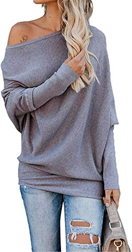 Exlura Women's Off Shoulder Batwing Sleeve Ribbed Shirt Loose Pullover Tops Grey (Apparel)