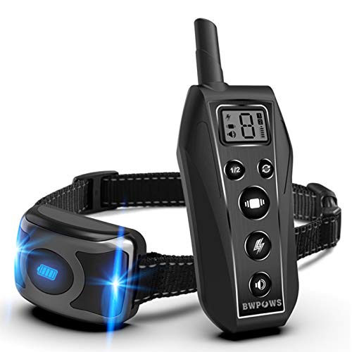 Bwpows Dog Training Collar with 3 Training Modes, Including Beep and Vibration,up to 1968Ft Long Range Remote Control,100% Waterproof Dog Shock Collar for Small, Medium, Large Dogs,2020 Newest Design