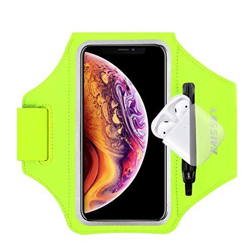 Fascia da Braccio Sportiva Running Armband per iPhone 11/11 Pro/XR/XS/8/7/6s, Samsung Galaxy A 50s/A 30s/S10/S10 +/S9/S9 +/S8/S7, fino a 6,5', Touch ID, Bracciale sportivo con supporto per Airpods
