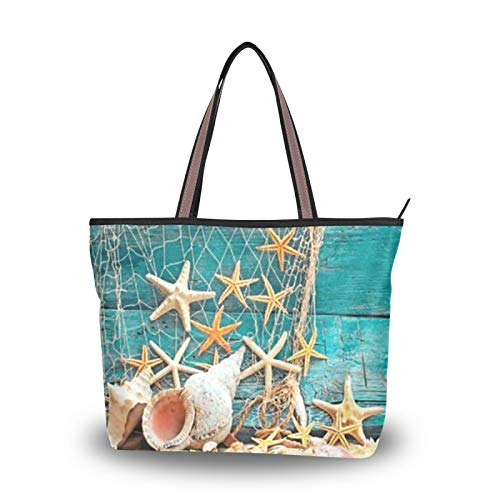 Light Weight Strap Tote Bag Purse Shopping Ocean Starfish Conch Summer Handbags Shoulder Bags for Women Girls Ladies Student