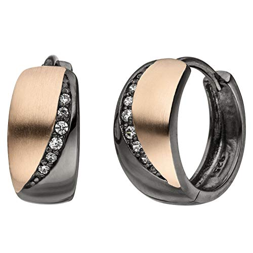 JOBO Damen Creolen 925 Sterling Silber schwarz bicolor 12 Zirkonia Ohrringe