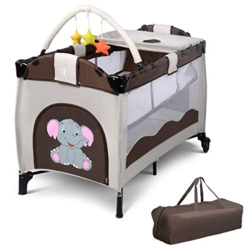 HONEY JOY Baby Playard, Foldable Baby Crib with Bassinet, Changing Table, Toys, Wheels and Brake, Portable Design with Carry Bag, Large Capacity Playpen, Nursery Center for Boys and Girls