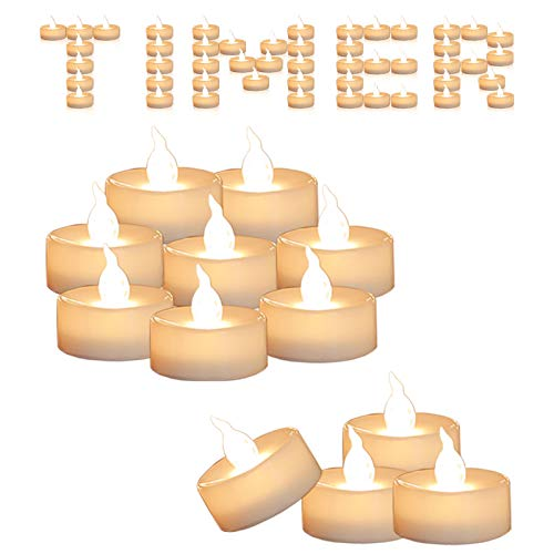 Cozeyat 12pcs Led Tea Lights with Timer Function(6Hrs On 18Hrs Off) Mini Flameless Candles Warm White Flickering Battery Operated Tealights for Wedding Christmas Halloween Party Home Decoration