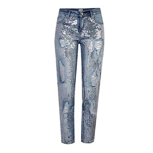 LAEMILIA Hosen Damen Jeans Stretch Straight Mid-Waist Jeanshose aus Baumwolle mit Pailletten Ripped Blue Jeans Zerrissen