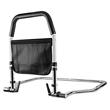 HEIHEI Bed Rails for Elderly Adults Medical Bedrail Assist Bar with Storage Pocket for Seniors Height Adjustable Safety Hand Bed Rail for Adults Getting in and Out of Bed