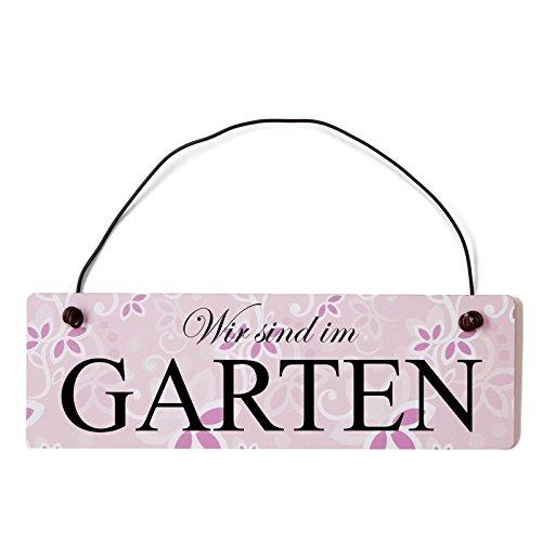 Deko Shabby Chic Schild Wir sind im Garten Vintage Holz Türschild in rosa mit Draht