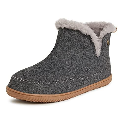 Dearfoams Alpine Men's Brixen Boot Slipper, Dark Heather Grey, Medium