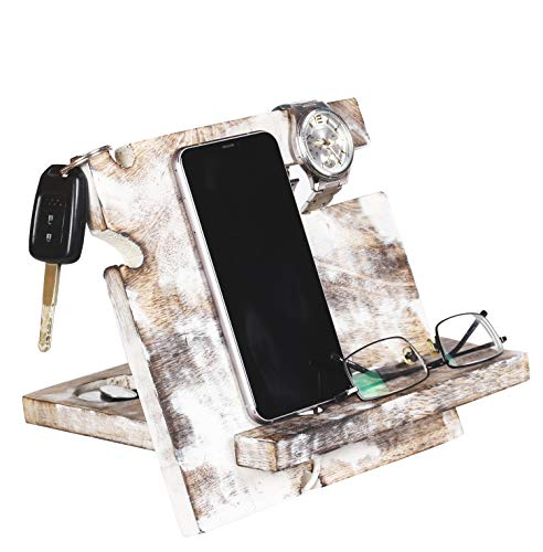 Ideas Wooden Phone Docking Station Desk Organizer for Smartphone with Key Holder, Wallet Stand and Watch Organizer Men's Gift Android iPhone (White Wash)