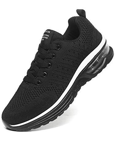 JIANKE Laufschuhe Damen Luftkissen Sportschuhe Leichte Atmungsaktiv Turnschuhe Fitness Gym Sneaker Straßenlaufschuhe Schwarz, 39 EU