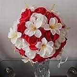 Qinqin666 Flor Artificial Tres Capas subió Lirio de Bola de la Flor Sala de Bodas Bola de la Flor Novia Inicio subió Bola de la Flor para casa (Color : Red+White)
