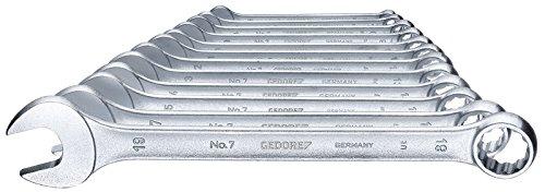 GEDORE 7-0112 Ring-Maulschlüssel-Satz, DIN 3113 Form A, leicht durch schlankes Maul und schmale Maulwände, ergonomisch und handlich, Ring 15° abgewinkelt, matt Verchromt, 12-tlg UD-Profil 6-19 mm