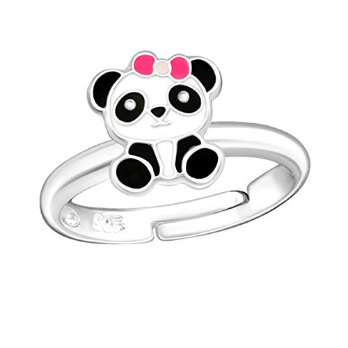 Kids Panda Ring Anhänger Kette Ohrstecker 925 Echt Silber Kinder Mädchen Pandabär Set (3) Ring)