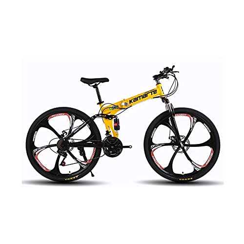 QIU 20/24 / 26inch Bicicletas de montaña 700C Ruedas 21 Velocidad 3 Ruedas de Radio 21 Velocidad Montaña Bicicleta Dual Disco Freno Bicicleta, Bicicleta de Carretera (Color : Yellow)