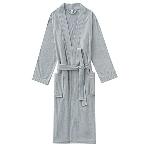 Bata unisex de toalla de felpa, albornoz de algodón suave y transpirable con cuello en V con cinturón y bolsillo para hombres y mujeres, bata tipo kimono para gimnasio, ducha en casa, spa, hotel, az