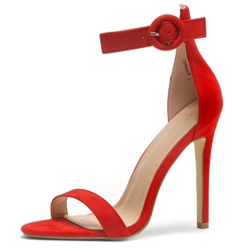Herstyle Charming Women's Open Toe Ankle Strap Stiletto Heel Dress Sandals Elegant Wedding Party Shoes Red 10.0