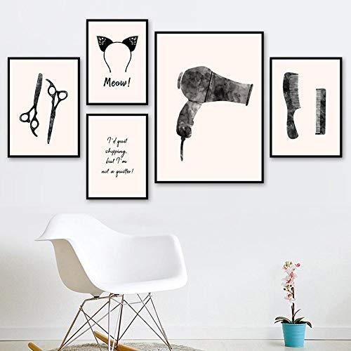 RTAGBFND Lienzo navideño Pintura Secador de pelo Tijeras Peine Clip Arte de la pared Carteles nórdicos e imágenes negras Baño Barbershop-50x70cm-30x40cmx4 Sin marco