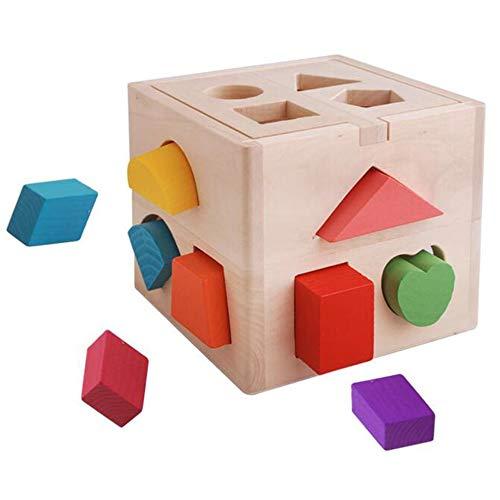 De madera de juguete de bebé cubo de actividad juguetes de aprendizaje temprano forma de clasificación caja de juguetes de bebé forma geométrica juguete lindo