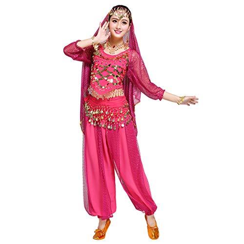 Xinvivion Mujer Profesional Danza del Vientre Disfraz Bollywood Indio árabe Bailando Rendimiento Outfits Traje (Rosa roja,Ajuste 70-100 KG)