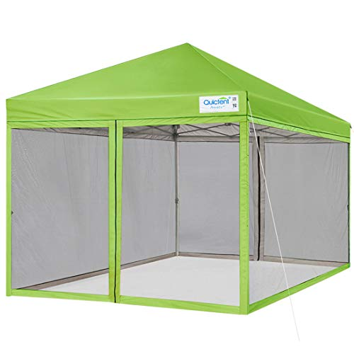 Quictent 8x8 Easy Pop up Canopy Screened with Netting Pop up Screen House Tent Waterproof (Green)