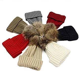 MZHHAOAN Knit Hat Women's Winter Thick Warm Tidal Fur Autumn and Winter Really Super Large Hair Ball Knit Cap